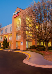Exterior night view of the Fairfield by Marriott Hotel in Fayetteville, NC. J. Starling Photography