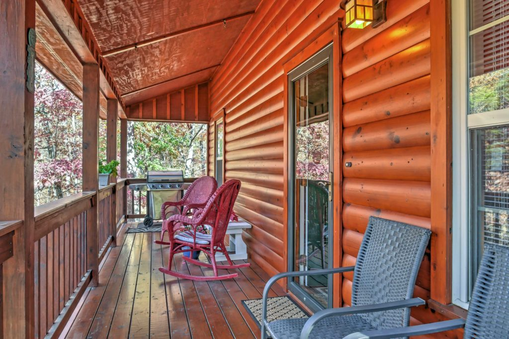 porch of rental cabin with view