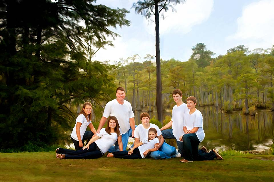 Outdoor casual family portrait jeans and white tee shirts, Family photo, Dalton, GA, Chattanooga, TN