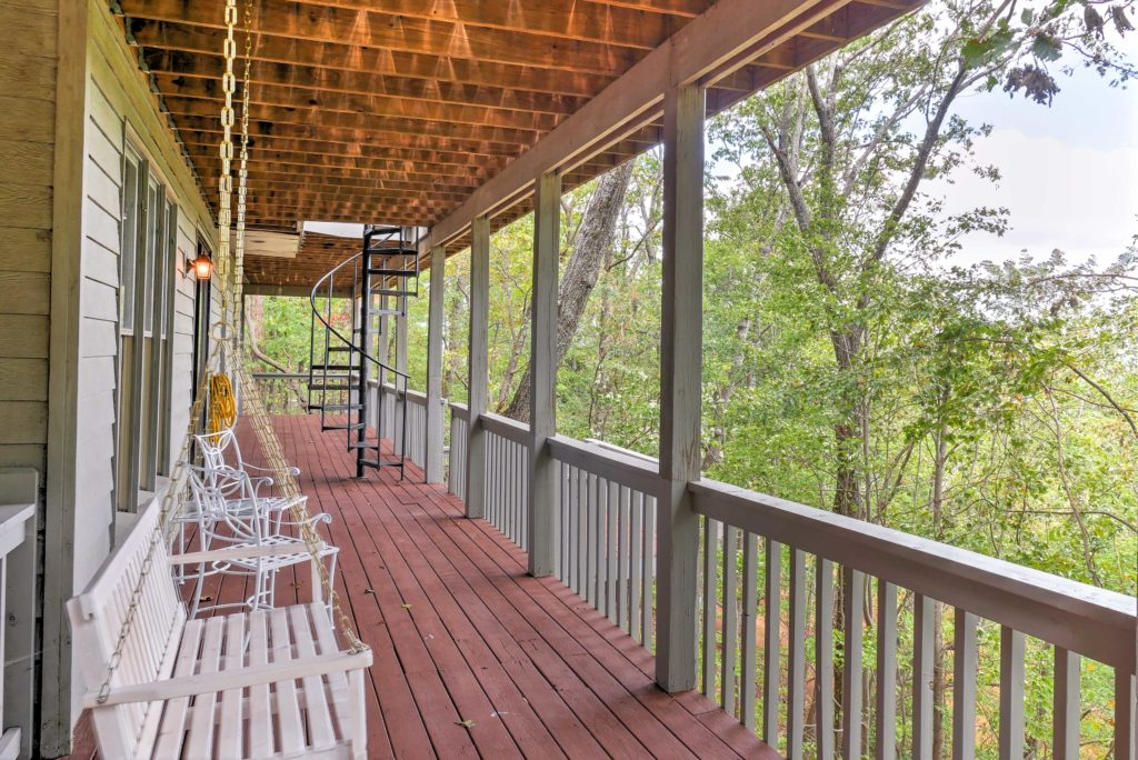 Porch swing on deck vacation home photography, Big Canoe, GA, Mountains