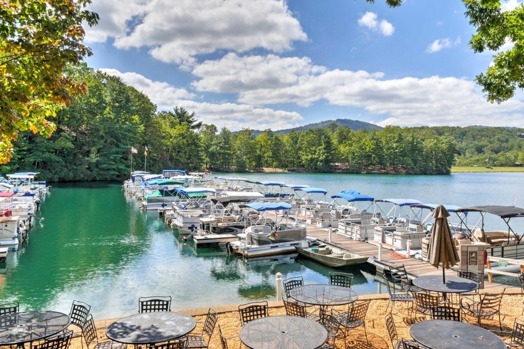 Pontoon Boats at Marina Big Canoe, GA, POA, Real Estate Photography