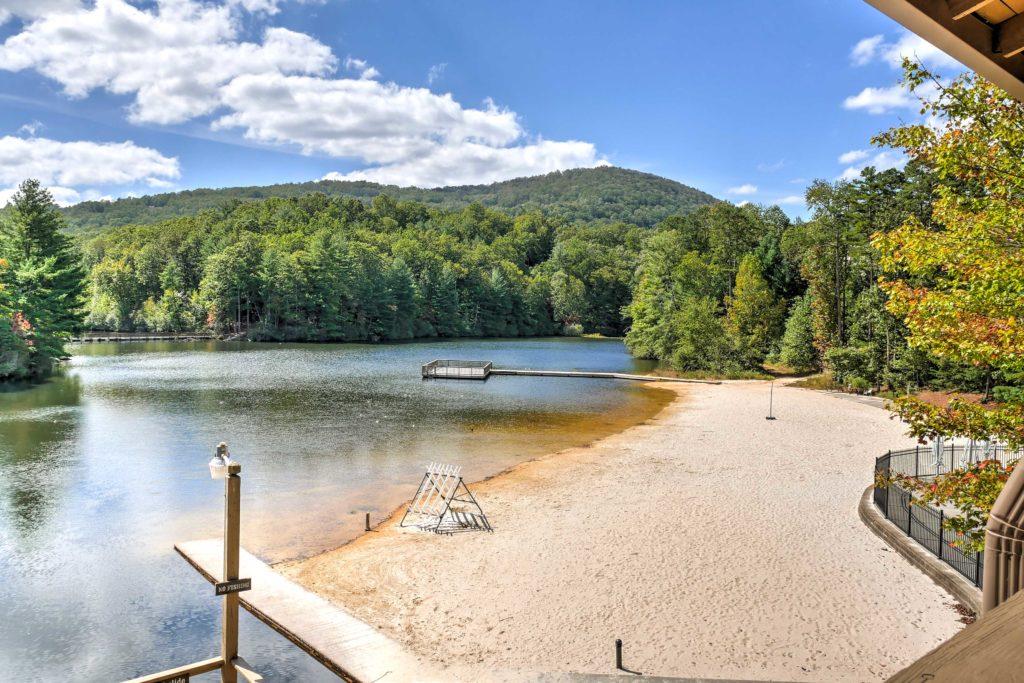 Big Canoe, GA beach on lake.